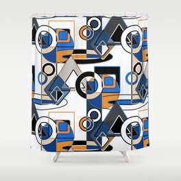 Abstract pattern with bold geometric shapes . Shower Curtain