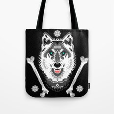 Silver Wolf Geometric Tote Bag