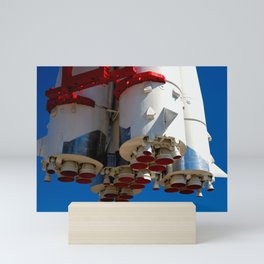 Cluster Of A Vintage Space Rocket Engines Against The Blue Sky Mini Art Print