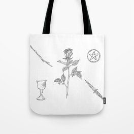 Rose with Tarot Suits / Botanical Line Drawing Tote Bag