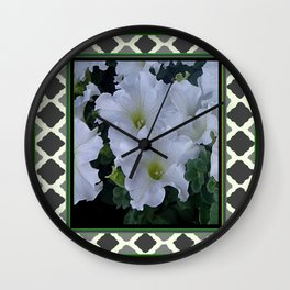 Decorative Green-Grey Lattice White Petunias Pattern Wall Clock