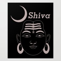 shiva Art Prints featuring SHIVA by Michael J. Chavez