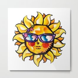 Colorful Tropical Sun with Sunglasses Metal Print