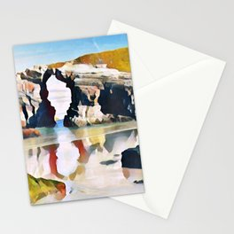 Playa De Las Catedrales Mirrored Elongated Surreal Cavity Stationery Cards