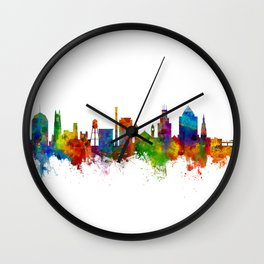 Durham North Carolina Skyline Wall Clock