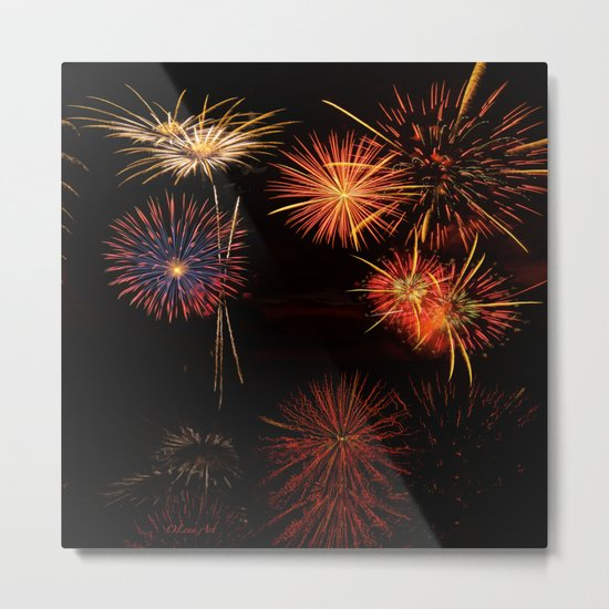 Fireworks Reflection In Water - OLena Art Metal Print