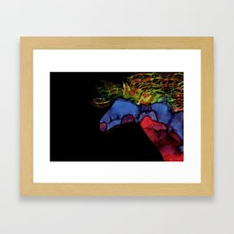 Colorful Abstract Wild Horse Silhouette In Red Blue Yellow Green Framed Art Print