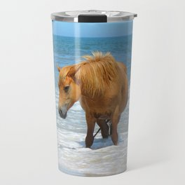Watercolor Horse 48, Assateague Pony, Assateague, Maryland, Watery Relief Travel Mug