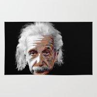 einstein Area & Throw Rugs featuring Albert Einstein by ARTito