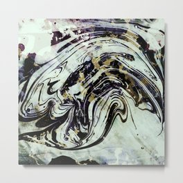 Marble black gold Metal Print