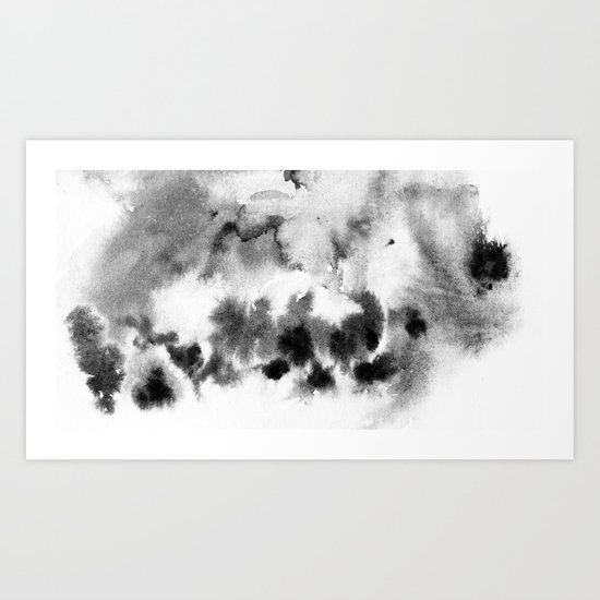 MINIMAL BLACK AND WHITE SPLATTER PATTERN Art Print