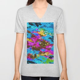 psychedelic splash painting abstract texture in blue pink yellow brown green Unisex V-Neck