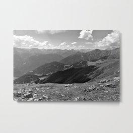 panorama on adventure park hög alps serfaus fiss ladis tyrol austria europe black white Metal Print