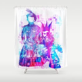 Cotton Candy Faceless Goth woman and punk dude Shower Curtain