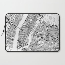 New York City Neutral Map Art Print Laptop Sleeve