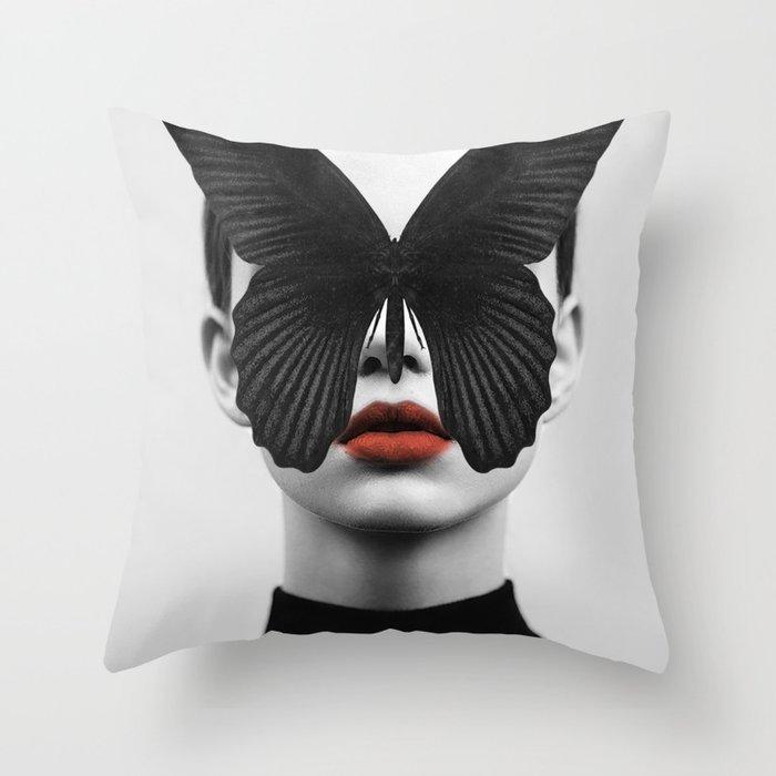 BLACK BUTTERFLY Throw Pillow