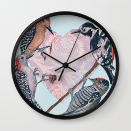 Woodpecker Heart Wall Clock