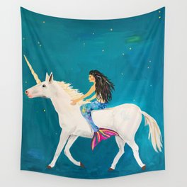 To the Land of Mermaids and Unicorns Wall Tapestry