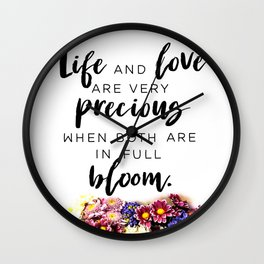Life Love Bloom Wall Clock