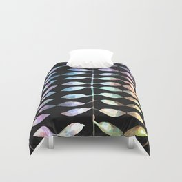 row of colored leaves (black background) Duvet Cover