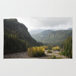 Fall landscape at Nisqually river Rug