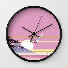 Seagull of morning glow Wall Clock