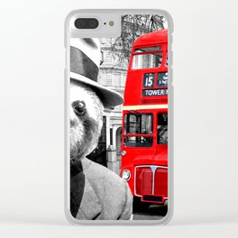 Sloth in London Clear iPhone Case