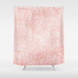 Rose quartz and white swirls doodles Shower Curtain