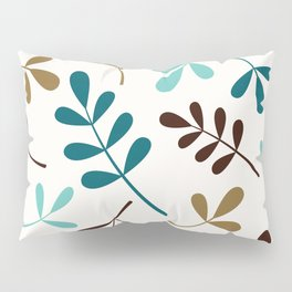 Assorted Leaf Silhouettes Teals Brown Gold Cream Pillow Sham