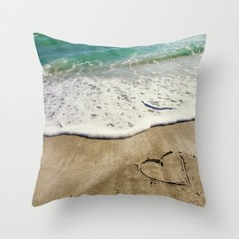Hearts in the Sand Throw Pillow