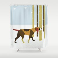 the hound Shower Curtains featuring Winter Hound by Freedom Art Inc.