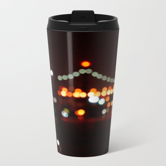 New York Night Bridge Metal Travel Mug