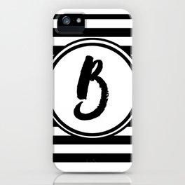 B Striped Monogram Letter iPhone Case