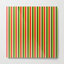Christmas Holidays Red And Green Striped Pattern Metal Print