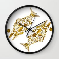 cyberpunk Wall Clocks featuring Cyberpunk fish by Oceloti