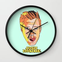 queens of the stone age Wall Clocks featuring Josh Homme, Queens of the Stone Age by Morgane Dagorne