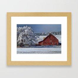 Red On White Framed Art Print