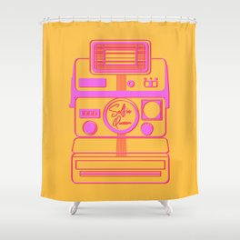 Retro Instant Camera - Selfie Queen Vector Illustration Shower Curtain