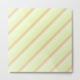 Spring Green Inclined Stripes Metal Print