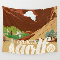 travel poster Wall Tapestries featuring Galactic Golf - Retro travel poster by Duke Dastardly