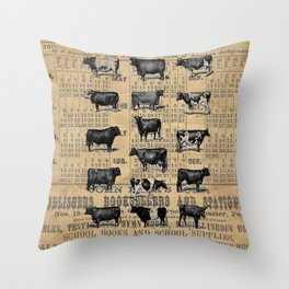 Vintage 1896 Cows Study on Antique Lancaster County Almanac Throw Pillow