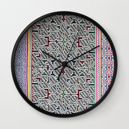 Song to Bring Blessings to a Marriage - Traditional Shipibo Art - Indigenous Ayahuasca Patterns Wall Clock