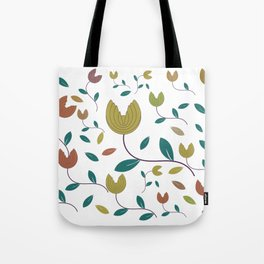 Stylized Flowers Entwine Tote Bag
