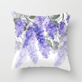 Purple Wisteria Flowers Throw Pillow