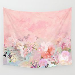 Modern blush watercolor ombre floral watercolor pattern Wall Tapestry