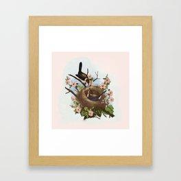 Vintage Birds with Nest Pink Framed Art Print