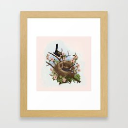Vintage Birds with Nest Pink Framed Art Print
