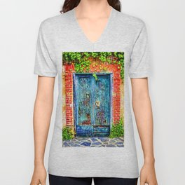 Italian Blue Door Unisex V-Neck