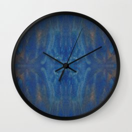 Blue Gold Fluid Painting Wall Clock