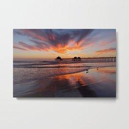 Huntington Beach Sunset  2/22/14  Metal Print